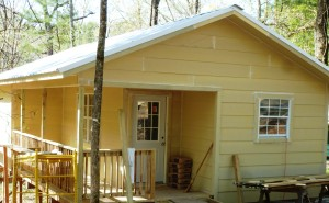 """Cabin in """"nearly complete"""" stage. Crew completed all electrical, plumbing, insulation, siding, railing, access ramp, etc. Nice job guys."""
