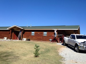 The men painted both end patio ceilings and the outside center hall ceiling and fascia and soffit of one the lodges.